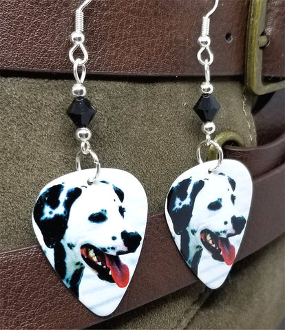 Dalmatian Guitar Pick Earrings with Black Swarovski Crystals