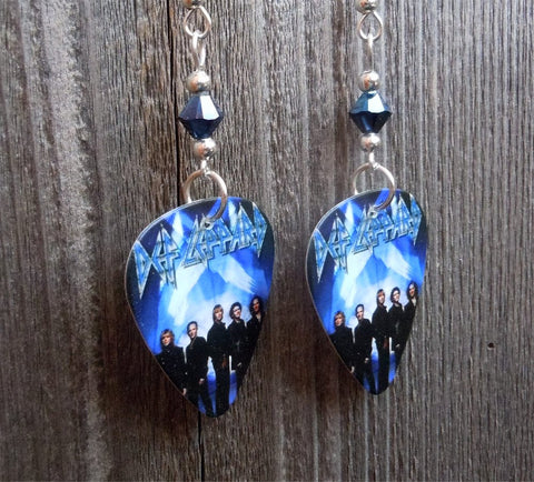 Def Leppard Guitar Pick Earrings with Metallic Blue Swarovski Crystals