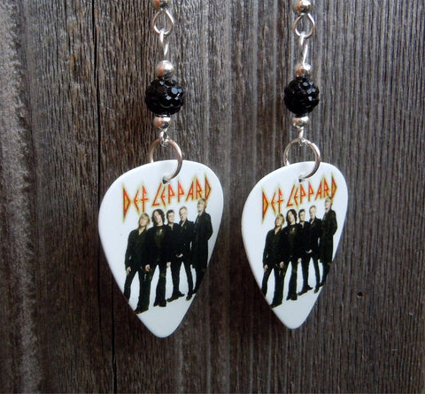 Def Leppard Group Picture with Logo Guitar Pick Earrings with Black Pave Beads