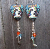 Def Leppard Hysteria Guitar Pick Earrings with Silver Charm and Swarovski Crystal Dangles