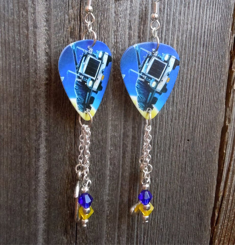 Def Leppard On Through The Night Guitar Pick Earrings with Dangles
