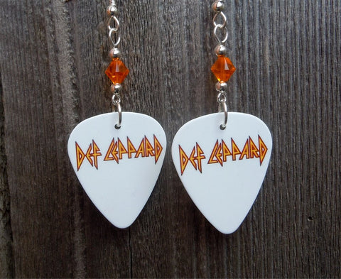 Def Leppard Guitar Pick Earrings with Orange Crystals