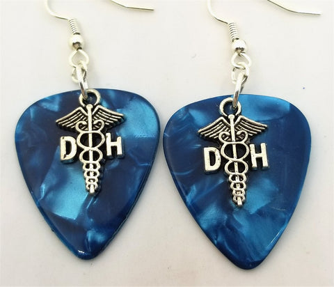 Dental Hygienist Caduceus Charm Guitar Pick Earrings - Pick Your Color