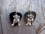 Large Dog Charm Guitar Pick Earrings - Pick Your Color