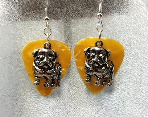 Pug Dog Charm on Gold MOP Guitar Pick Earrings