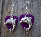 Dolphin Charm Guitar Pick Earrings - Pick Your Color