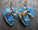 Dolphin Circle Charm Guitar Pick Earrings - Pick Your Color