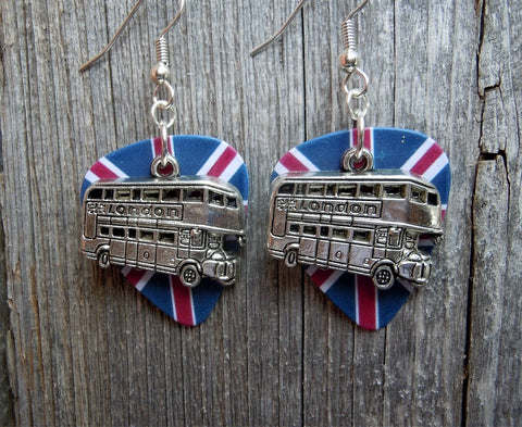 Double Decker London Bus on British Flag Guitar Pick Earrings
