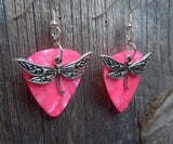 Dragonfly Charm Guitar Pick Earrings - Pick Your Color