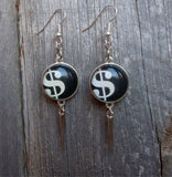 Dollar Sign Charm Drop Earrings with Silver Spikes
