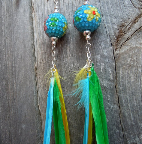 Blue Rhinestone Bead with Flowers and Feather Dangle Earrings