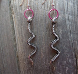 Crystal Encrusted Snake Earrings with Pink Ring
