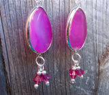 Pink Agate Teardrop Slices Drop Earrings with Fuchsia Swarovski Crystal Dangles