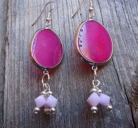 Pink Agate Teardrop Slices Drop Earrings with Rose Alabaster Swarovski Crystals