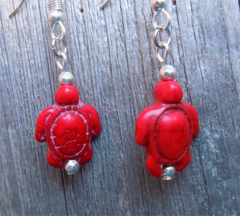 Red Magnesite Turtle Earrings