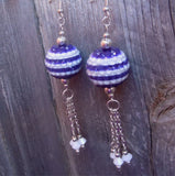 Purple and White Striped Rhinestone Bead Earrings with White Crystal Dangles