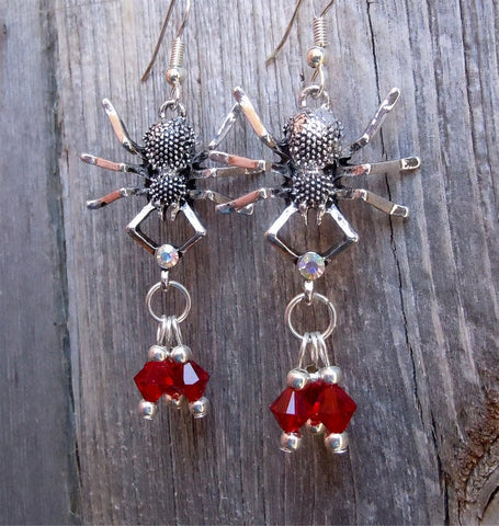 Spiders with Red Swarovski Crystal Drop Earrings