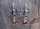 Silver Spiders with Red Swarovski Crystal Drop Earrings
