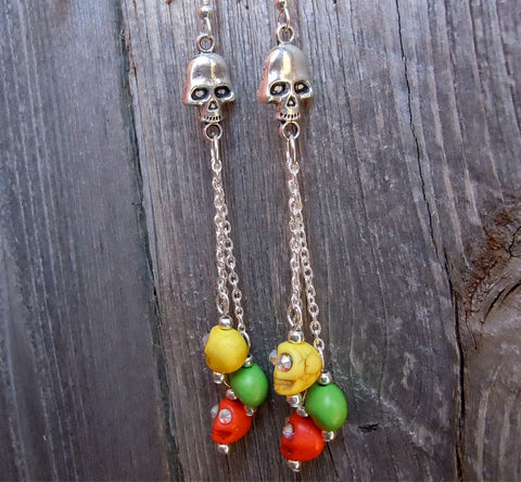 Cascading Colorful Skulls with Rhinestone Eyes Hanging Earrings