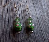Green Magnetite Skull Earrings with Rhinestones and Crystals