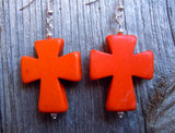 Large Orange Magnesite Cross Dangling Earrings
