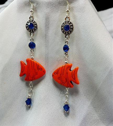Orange Magnesite Fish Dangling Earrings with Crystal Charms and Swarovski Crystal Dangles