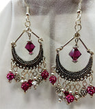 Chandelier Earrings with Fuchsia Pave Beads, Swarovski Crystals, and Silver Beads