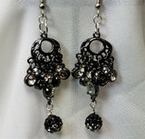 Gunmetal Chandelier Earrings with Cascading Crystals and Ombre Pave Beads