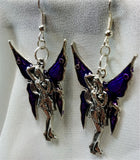 Large Fairy with Purple Wings Charm Earrings