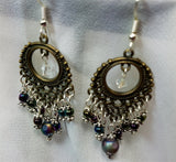 Oil Slick Colored Glass Beads Chandelier Earrings
