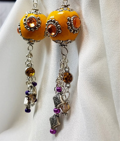 Large Orange Beads with Rhinestone Earrings with Crystal and Metal Bead Dangles