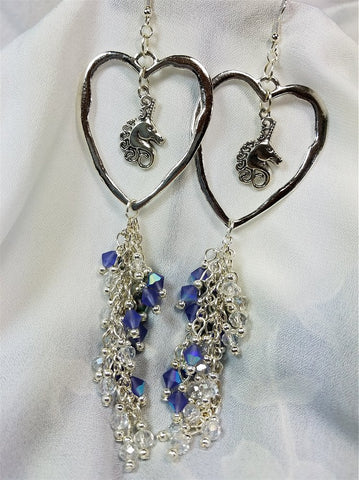 Unicorn and Heart Charm Earrings with Elaborate Gorgeous Swarovski Crystal Dangles