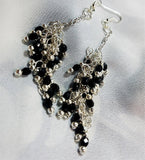 Fabulous Cascading Black Czech Bead Earrings