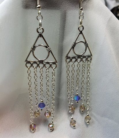Geometric Chandelier Earrings with Chain and Swarovski Crystal Dangles