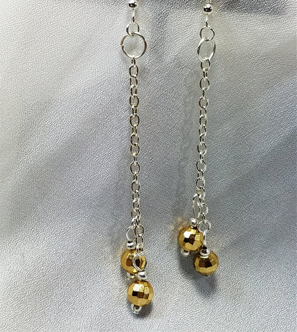 Metallic Gold Bead Long Dangle Earrings