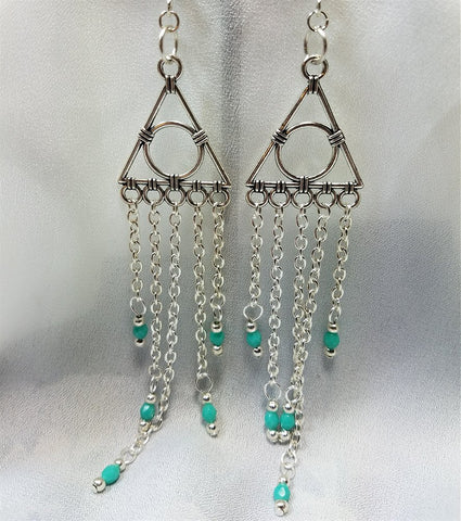 Geometric Chandelier Earrings with Chain and Turquoise Green Glass Bead Dangles