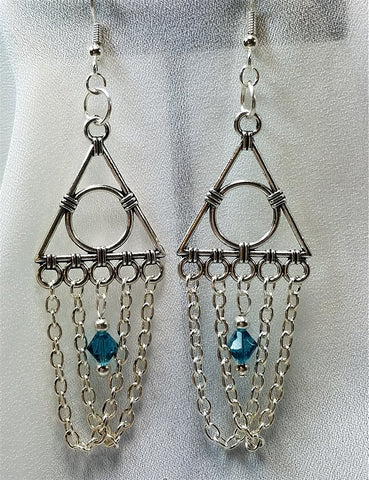 Geometric Chandelier Earrings with Chain and Blue Swarovski Crystals