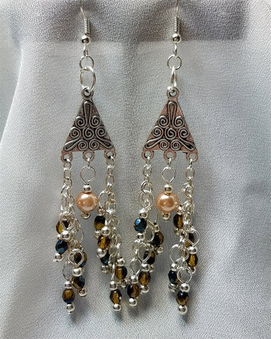 Chandelier Earrings with Fire Polished Czech Beads and Glass Pearls