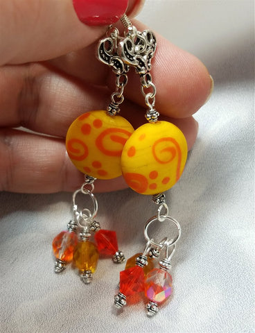Yellow and Orange Lampwork Drop Earrings with Fire Polished Czech Glass and Swarovski Crystal Dangles