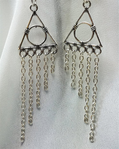 Geometric Chandelier Earrings with Chain Dangles