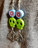 Green Magnesite Skull Bead Earrings with Leaf Dangles