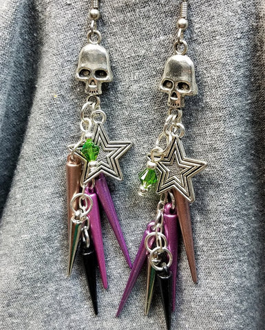 Skulls with Spikes, Stars and Swarovski Crystal Cascading Earrings