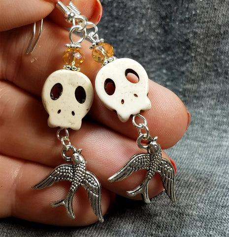 White Magnesite Skull Bead Earrings with Old School Tattoo Sparrow Charms