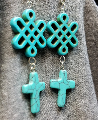 Turquoise Colored Magnetite Cross and Celtic Knot Dangle Earrings