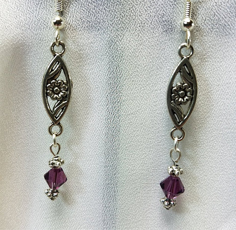 Flower Connector with Purple Swarovski Crystal Drop Earrings