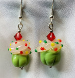 Cupcake Lampwork Style Glass Bead Earrings with Red Swarovski Crystals