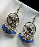 Frosted Blue Glass Seed Bead Butterfly Chandelier Earrings