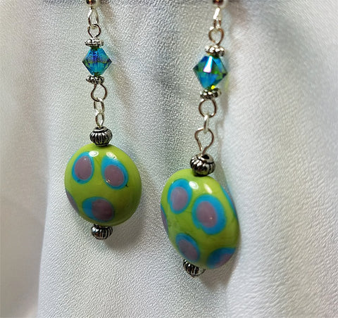 Green with Polka Dots Lampwork Drop Earrings with Green AB Swarovski Crystals