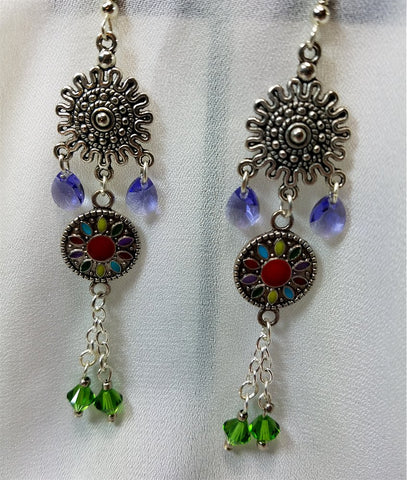 Southwestern Chandelier Earrings with Silver Metal Charm and Swarovski Crystal Dangles