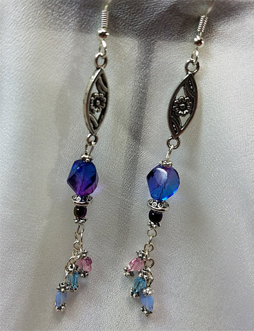 Silver Flower and Glass Bead Earrings with Swarovski Crystal Butterfly Dangles